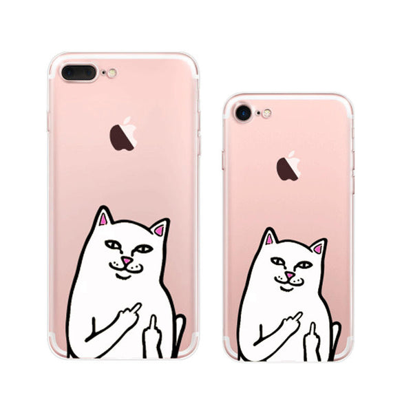 Ripndip Cat Middle Finger Cat iPhone 7 Soft Clear Cases