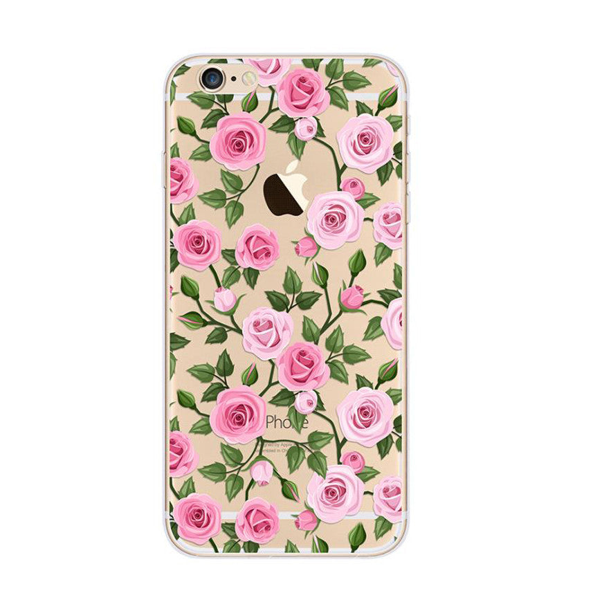 Rose Pattern Petal Pink Nice iPhone 6s 6 Plus SE 5s 5 Soft Clear Case - Mavasoap