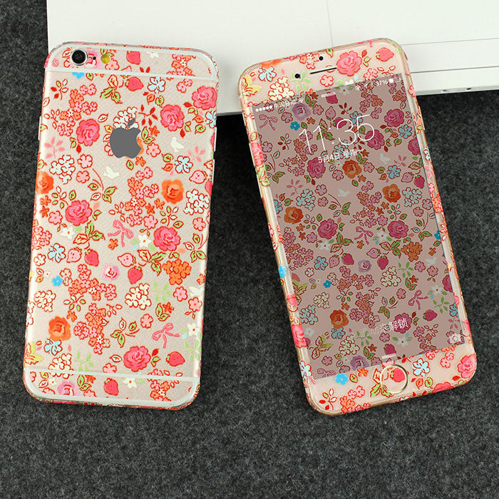 Rose Strawberry Flowers Pattern Decal Wrap Skin Set iPhone 6s 6 / iPhone 6s 6 Plus - Mavasoap - 1