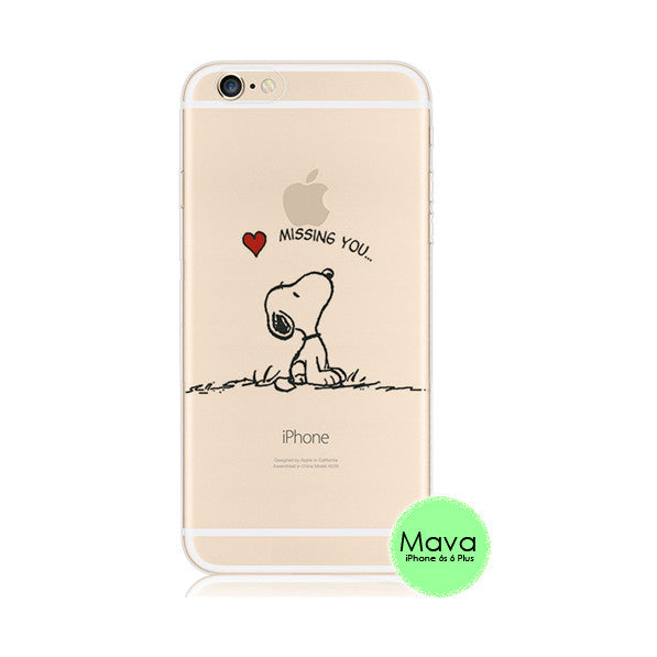 on sale 8f635 5086c Snoopy Missing You Heart iPhone 6s 6 Plus SE 5s 5 Soft Clear Case