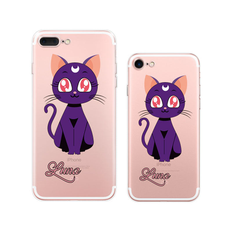 Sailor Moon Luna Cat (Purple) iPhone 7 Plus Soft Clear Cases