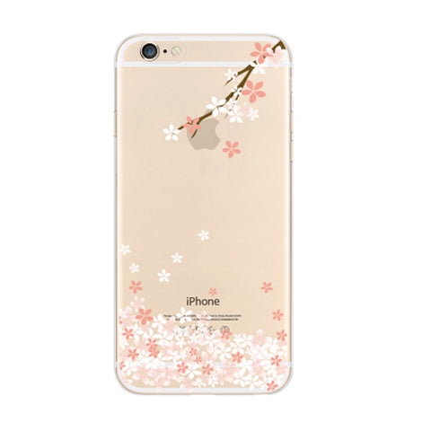 Sakura Cherry Branch Petals Floral iPhone 6s 6 Plus SE 5s 5 Soft Clear Case - Mavasoap - 1