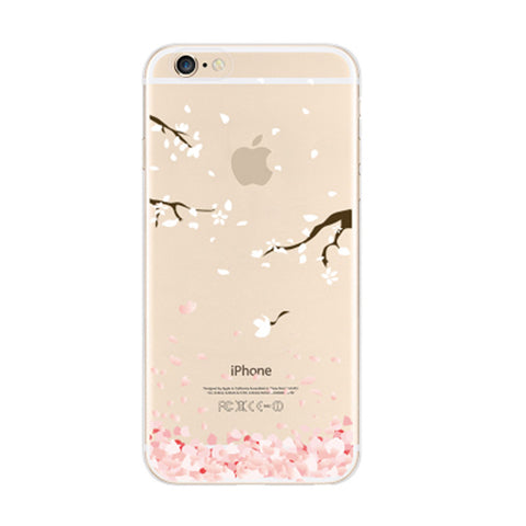 Sakura Cherry Petals Flying Floral iPhone 6s 6 Plus SE 5s 5 Soft Clear Case - Mavasoap - 1