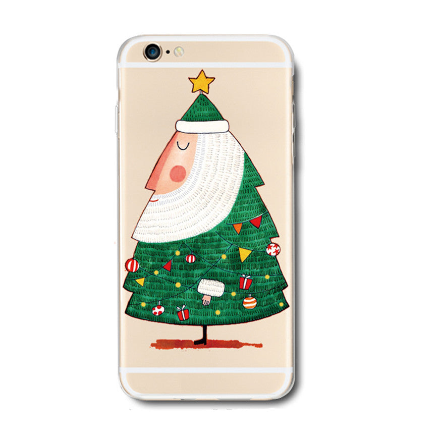 Santa Claus Christmas Tree Green iPhone 6s 6 Plus Soft Clear Case - Mavasoap