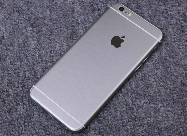 Silver Brushed Aluminum Surface Decal Wrap Skin Set iPhone 6s 6 / iPhone 6s 6 Plus - Mavasoap - 1