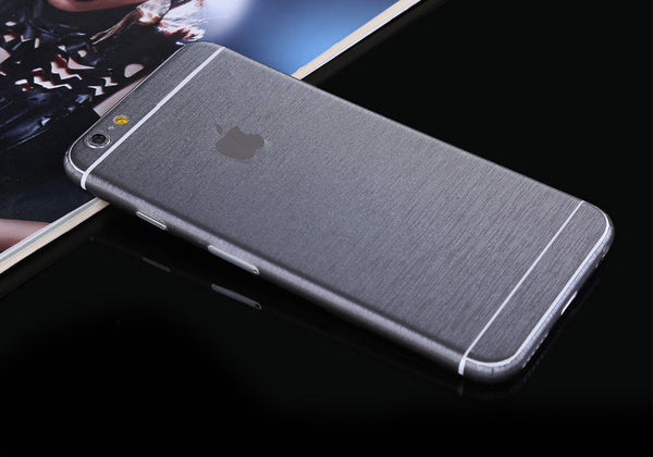 Silver Grey Brushed Aluminum Surface Decal Wrap Skin Set iPhone 6s 6 / iPhone 6s 6 Plus - Mavasoap - 1