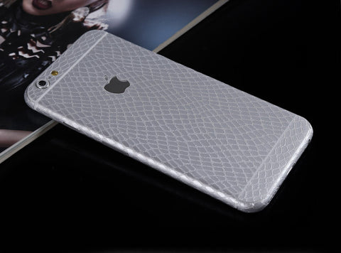 Silver Leather Snake Pattern Decal Wrap Skin Set Apple iPhone 6s 6 / iPhone 6s 6 Plus - Mavasoap - 1