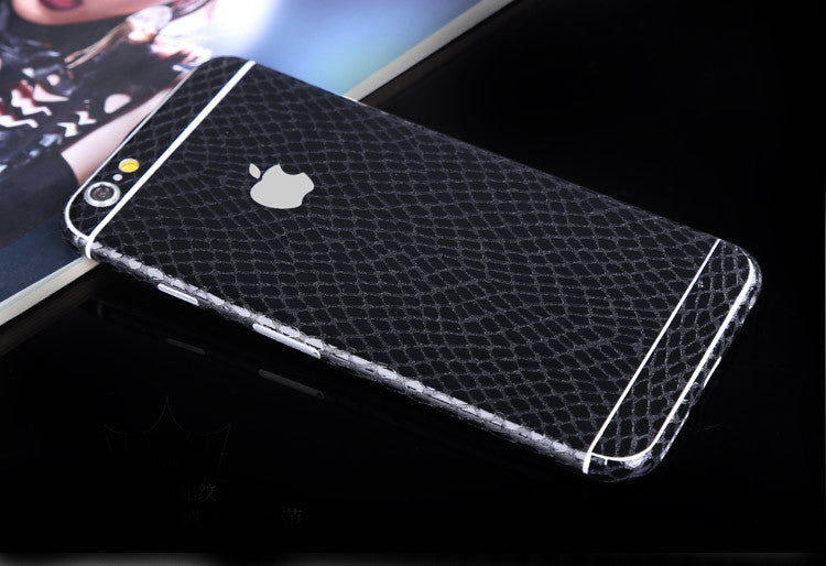 Black Leather Snake Pattern Decal Wrap Skin Set Apple iPhone 6s 6 / iPhone 6s 6 Plus - Mavasoap - 1