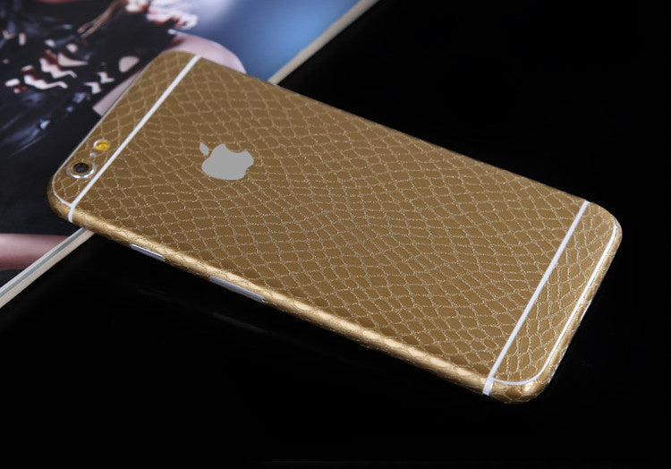 Gold Leather Snake Pattern Decal Wrap Skin Set Apple iPhone 6s 6 / iPhone 6s 6 Plus - Mavasoap - 1