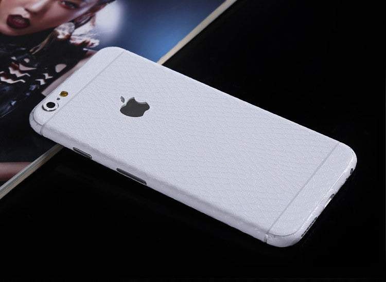 White Leather Snake Pattern Decal Wrap Skin Set Apple iPhone 6s 6 / iPhone 6s 6 Plus - Mavasoap - 1