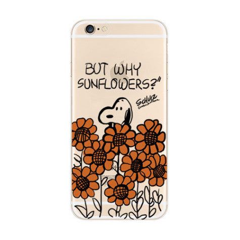 Snoopy Sun Flowers Garden iPhone 6s 6 Soft Clear Case - Mavasoap