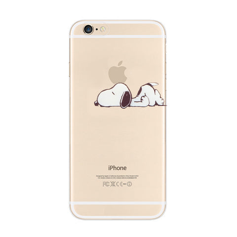 Snoopy Lazy Nope Sleep iPhone 6s 6 Plus SE 5s 5 Soft Clear Case - Mavasoap