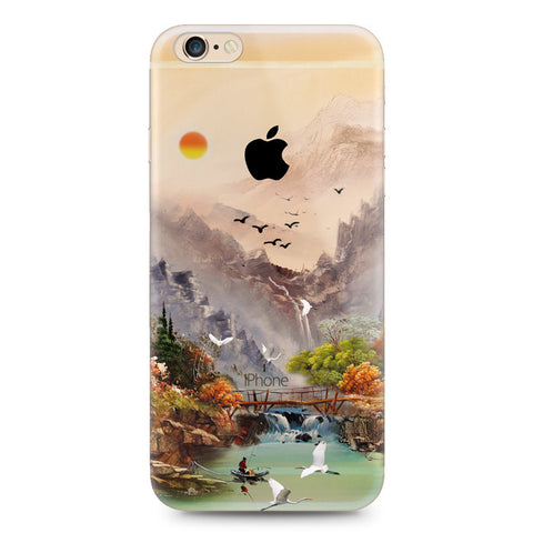Sunset Crane Bird Nature iPhone 6s 6 Plus SE 5s 5 Soft Clear Case - Mavasoap