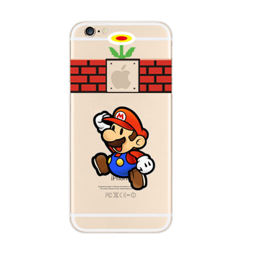 Super Mario Brick Wall Flower iPhone 6s 6 Soft Clear Case - Mavasoap
