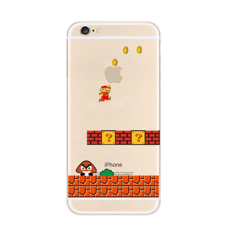 Super Mario Brick Wall Mushroom iPhone 6s 6 Soft Clear Case - Mavasoap