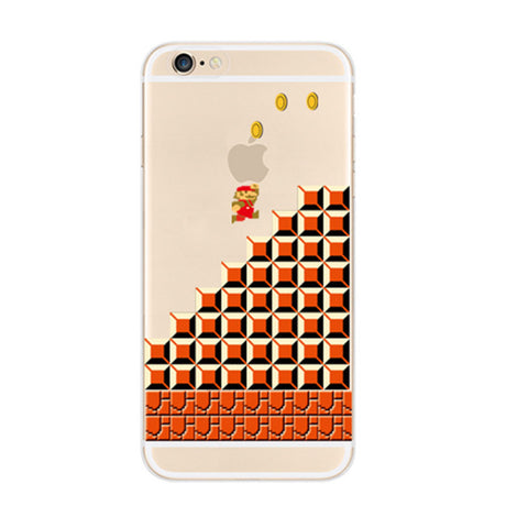 Super Mario Bros Brick Wall Jump Coins iPhone 6s 6 Soft Clear Case - Mavasoap