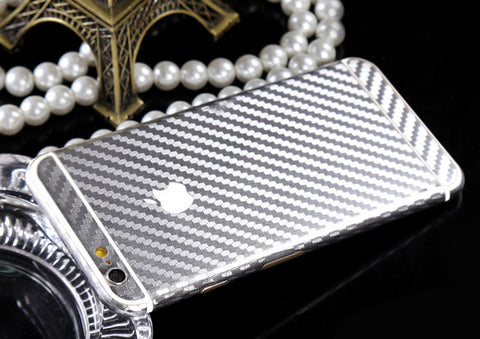 Silver Carbon Fiber Decal Wrap Skin Set iPhone 6s 6 / iPhone 6s 6 Plus - Mavasoap