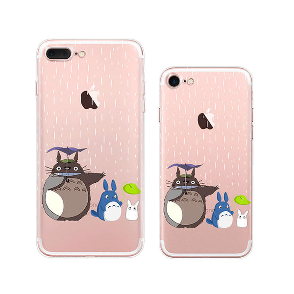 Totoro Raining iPhone 7 Plus Soft Clear Cases