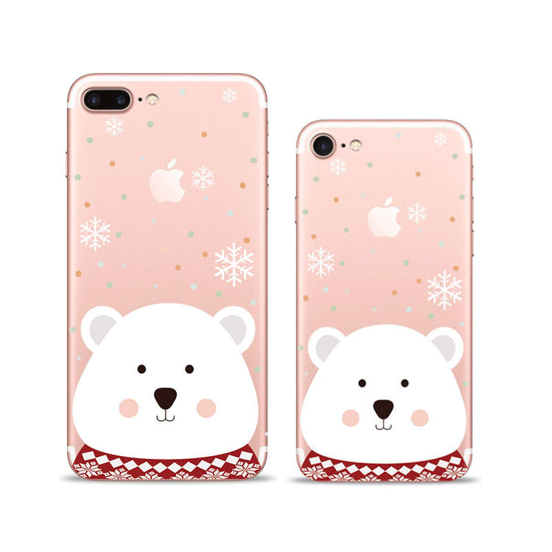 White Bear Snowflakes iPhone 7 Plus Soft Clear Cases