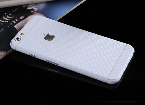 White Carbon Fiber Decal Wrap Skin Set iPhone 6s 6 / iPhone 6s 6 Plus - Mavasoap - 1