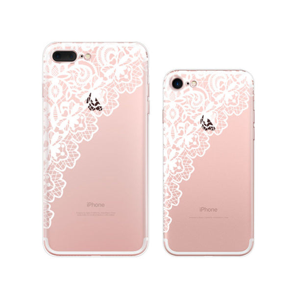 White Lace iPhone 7 Soft Clear Cases