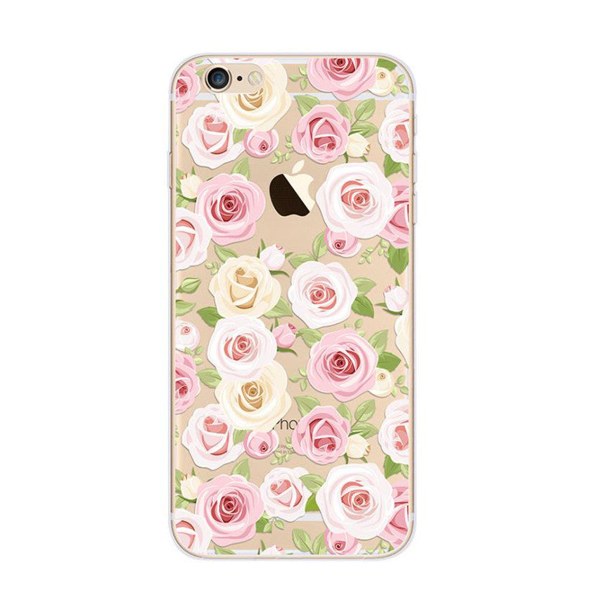 White Rose Roses Pattern Pink iPhone 6s 6 Plus SE 5s 5 Soft Clear Case - Mavasoap