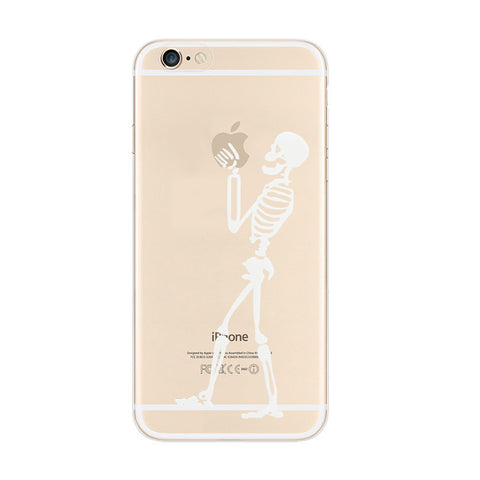 White Skull iPhone 6s 6 Plus Soft Clear Case - Mavasoap