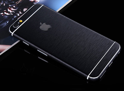 Black Brushed Aluminum Surface Decal Wrap Skin Set iPhone 6s 6 / iPhone 6s 6 Plus - Mavasoap - 1