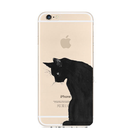 Black Cat iPhone 6s 6 Plus Soft Clear Case - Mavasoap
