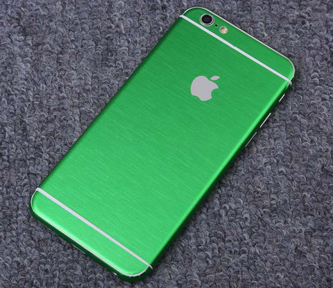 Green Brushed Aluminum Surface Decal Wrap Skin Set iPhone 6s 6 / iPhone 6s 6 Plus - Mavasoap - 1