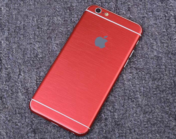 Red Brushed Aluminum Surface Decal Wrap Skin Set iPhone 6s 6 / iPhone 6s 6 Plus - Mavasoap - 1