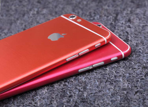 Red Brushed Aluminum Surface Decal Wrap Skin Set iPhone 6s 6 / iPhone 6s 6 Plus - Mavasoap - 2