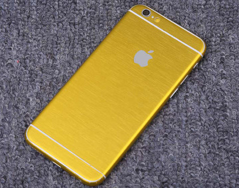 Yellow Brushed Aluminum Surface Decal Wrap Skin Set iPhone 6s 6 / iPhone 6s 6 Plus - Mavasoap - 1