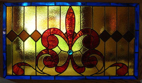 "Fleur de Lis Transom 44 x 25"" Stained Glass Pattern. PDF VERSION"
