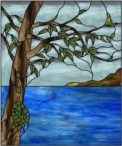 "Branch Over Water 20 x 24"" Stained Glass Pattern. PDF VERSION"