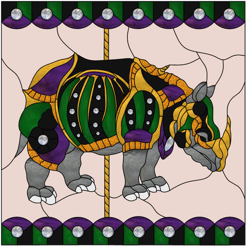 "Carousel Rhinoceros 36 x 36"" Stained Glass Pattern. PDF VERSION"