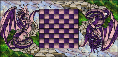 "Dragon Chess Table 23 x 48"" Stained Glass Pattern PDF VERSION"