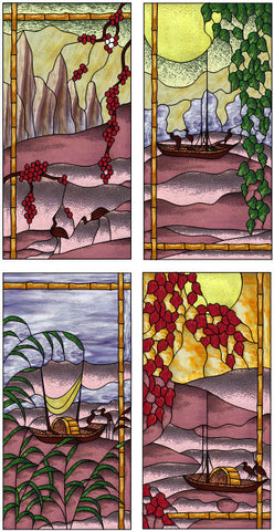 "Crane Fishing 4 Panel Each Panel 10 x 20"" Stained Glass Pattern. PDF VERSION"