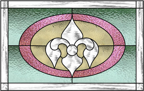 "English Muffle Fleur De Lis 19.5 x 12.25"" Stained Glass Pattern. PDF VERSION"