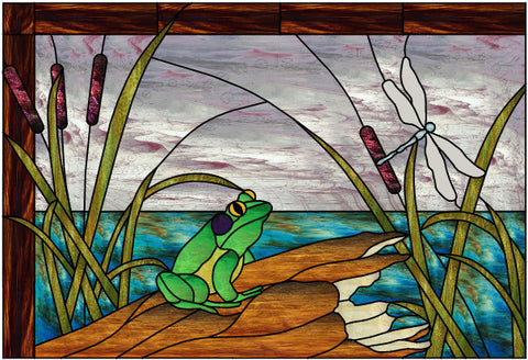 "Frog on a Log 30 x 20"" Stained Glass Pattern. Artist BJ Green PDF VERSION"