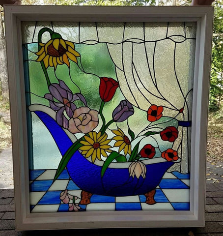 "Bathtub Flowers 18 x 20.5"" Stained Glass Pattern PDF VERSION"