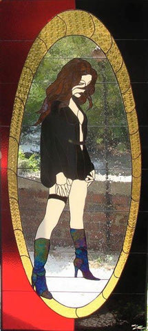"Rockstar Girl 34 x 75"" Stained Glass Pattern. PDF VERSION Artist Jim Meadows."