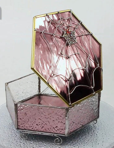 Delicious Spiderweb Glass Box Pink Blush