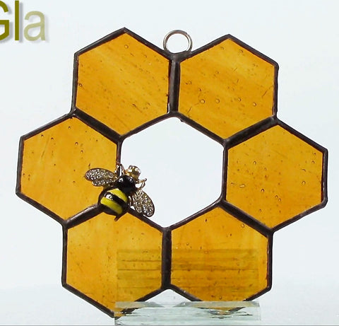 Holey Honeycomb Stained Glass Suncatcher