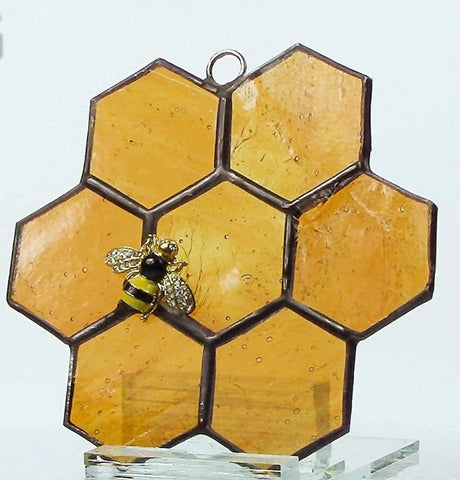Honeycomb Bee Stained Glass Suncatcher