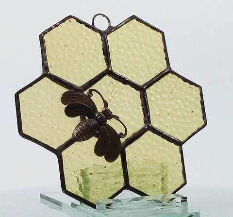 Honeycomb with Bee Stained Glass Suncatcher Hammered