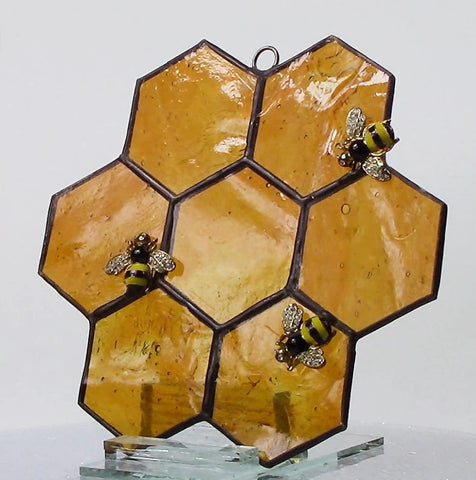 Honeycomb with Bees Stained Glass Suncatcher Large