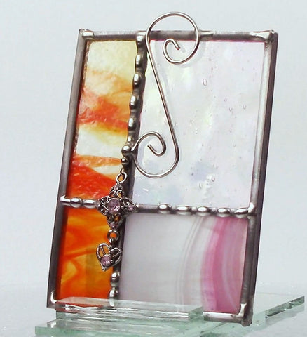 Orange Pink Miniature Stained Glass Window II