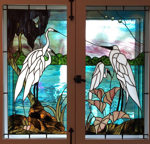 "Herons 15.5 x 32.5"" Two Panels Stained Glass Pattern. PDF VERSION"