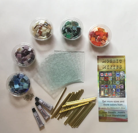 01 Mosaic Mixie Mini. Opaque Colors.  Real Stained Glass Mosaic Kit